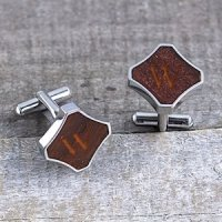 Personalized Redwood Stainless Steel Cuff Links