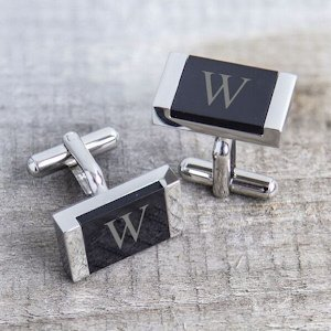 Personalized Faux Onyx Cuff Links image