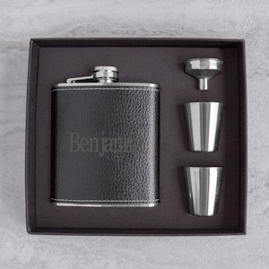Personalized Leather Wrapped Flask Set (2 Colors) image