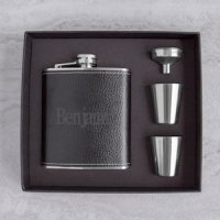 Personalized Leather Wrapped Flask Set (2 Colors)