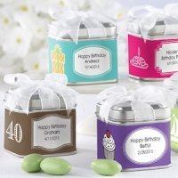 Square Birthday Party Favor Tins (Set of 12)