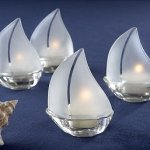 Glass Sailboat Tealight Candle Holders (Set of 4)