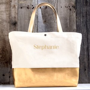 Personalized Metallic Color Dipped Tote Bag (Gold or Silver) image