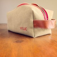 Personalized Canvas & Leather Toiletry Bag (2 Colors)