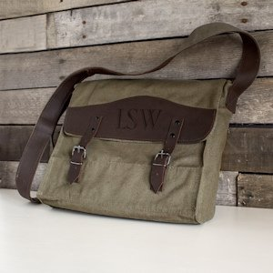 Personalized Canvas & Leather Messenger Bag image