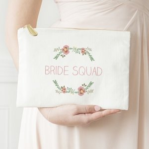 Personalized Floral Canvas Clutch image