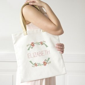 Personalized Floral Canvas Tote image