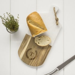 Personalized Marble & Acacia Serving Board image