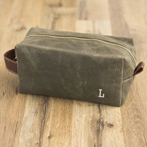 Personalized Men's Waxed Canvas and Leather Dopp Kit image