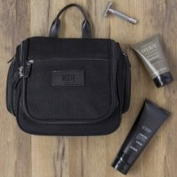 Personalized Waxed Canvas and Leather Hanging Toiletry Bag 3e7037a5a8cd1