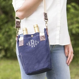 Personalized Navy Waxed Canvas Wine Tote image