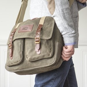 Personalized Men's Waxed Canvas and Leather Messenger Bag image