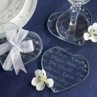 Heart-Shaped Words of Love Wedding Favor Coasters