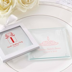 Personalized Glass Birthday Coaster Favors (Set of 12) image