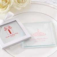 Personalized Glass Birthday Coaster Favors (Set of 12)