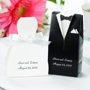 Personalized Black Tux & White Gown Favor Boxes (Set of 25) image