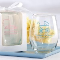 Personalized Stemless Baby Shower Wine Glasses (9 oz)