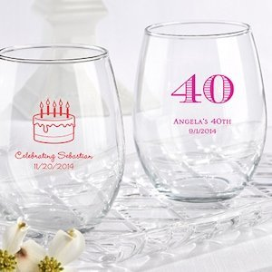 Personalized 15 oz Stemless Birthday Wine Glasses image