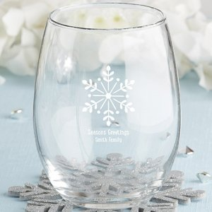 Personalized 15oz Stemless Holiday Wine Glass (4 Designs) image