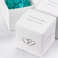 Personalized White Linked Heart Boxes (Set of 25)