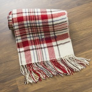 Personalized Red or Grey Plaid Throw image
