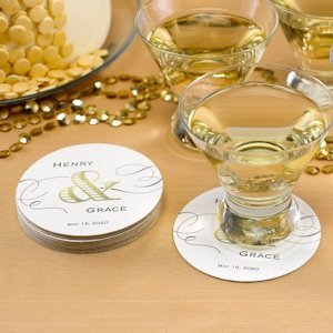 Golden Elegance Personalized Coasters (Set of 50) image