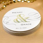 Golden Elegance Personalized Coasters (Set of 50)