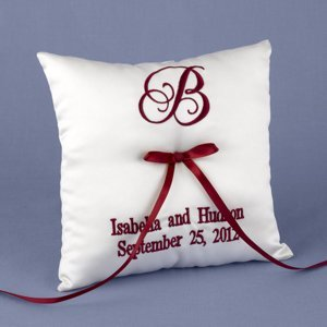 Personalized Ring Bearer Pillow (Many Thread Colors) image