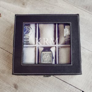 Personalized Men's Leatherette Watch Box image