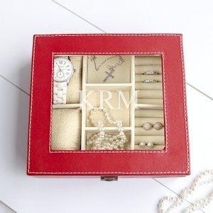 Personalized Red Leatherette Jewelry Box image