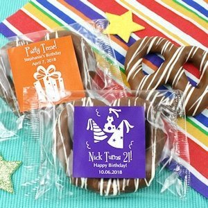 Personalized Birthday Chocolate Pretzel Favors image