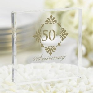 Golden 50th Anniversary Cake Top image