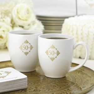 Golden 50th Anniversary Mug Set image
