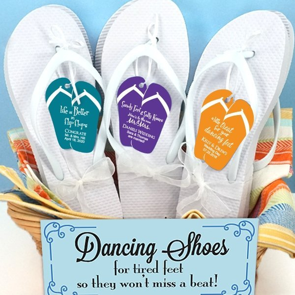 a549dbdfff3 Custom Flip Flop Tag White Wedding Flip Flops (Set of 6)