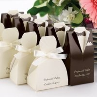 Personalized Brown Tux & Ivory Gown Boxes (Set of 25)