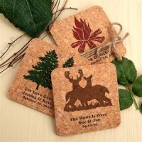 Woodland Rustic Personalized Square Cork Coasters