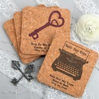 Personalized Vintage Design Square Cork Coasters