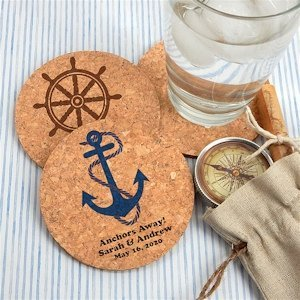 Nautical Design Personalized Round Cork Coasters image