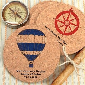 Travel Destination Personalized Round Cork Coasters image