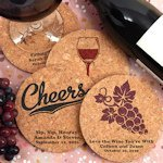 Vineyard Design Personalized Round Cork Coasters