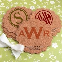 Personalized Scalloped Monogram Cork Coasters (Many Designs)