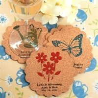 Garden Party Personalized Scalloped Cork Coasters