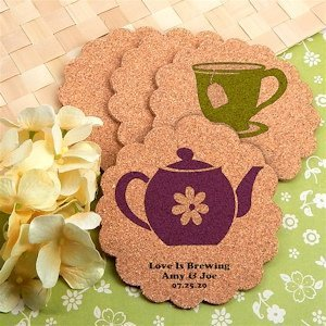 Tea Party Design Personalized Scalloped Cork Coasters image
