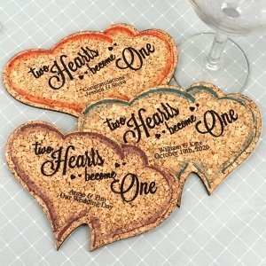 Personalized Double Heart Cork Coaster image