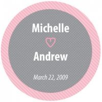 Round Pink & Gray Personalized Sticker