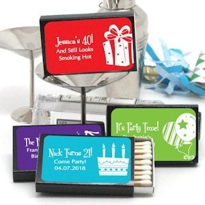 Personalized Black Matchbox Birthday Favors (Set of 50) image