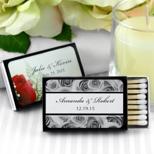 Personalized Black Box Wedding Matches (Set of 50) image