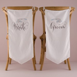 Feather Whimsy Bride And Groom Chair Banner Set image