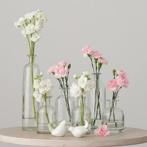 Set of 6 Clear Decorating Glass Bottles image