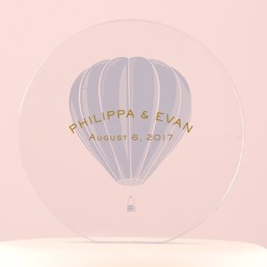 Vintage Travel Hot Air Balloon Personalized Cake Topper image